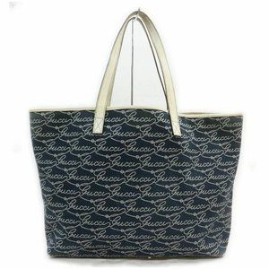 Auth Gucci Tote Bag Navy Blue Canvas #8092G10